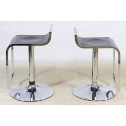 View 2: Black Leather and Chrome Hydraulic Piston Bar Stools