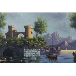 "View 2: A. Vella (20th Century) ""Village"" Oil on Canvas"