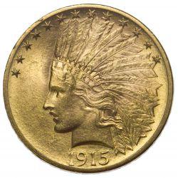 1915 $10 Gold AU+