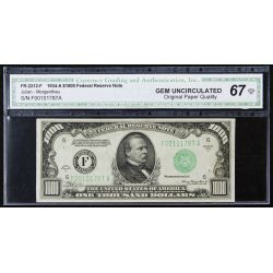 1934-A $1000 Federal Reserve Note Gem Unc. 67 CGA