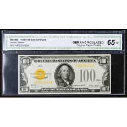 1928 $100 Gold Certificate Gem Unc. 65 CGA