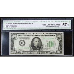 1934-A $500 Federal Reserve Note Gem Unc. 67 CGA