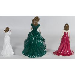 "View 2: Royal Doulton HN4580 ""Irish Charm"", HN4970 ""January - Garnet"" and HN3393 ""Sentiments with Love"" Figurines"