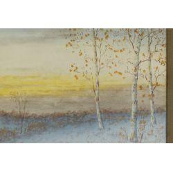 "View 2: Gulbrand Sether (American / Norwegian, 1869-1941) ""Last Glow Winter"" Watercolor"