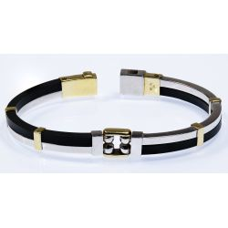 View 2: VO 14k Two-tone Gold and Rubber Bracelet