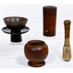 View 2: Chinese Tea Bowl, Stand, Caddy, Mortar and Pestle
