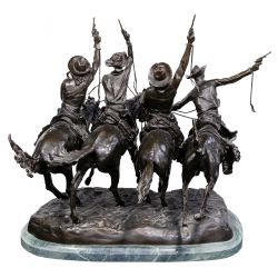 """View 2: (After) Frederic Remington (American, 1861-1909) """"Coming Thru the Rye"""" Sculpture"""