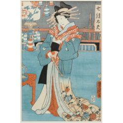 "View 7: (After) Kitagawa Utamaro (Japanese, 1753-1806) ""Three Beauties in the Down Town"" Wood Block Print"