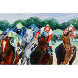 """View 2: Leroy E. Sheaner (American, 20th Century) """"1979 Kentucky Derby"""" Oil on Canvas"""