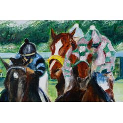 """View 5: Leroy E. Sheaner (American, 20th Century) """"1979 Kentucky Derby"""" Oil on Canvas"""