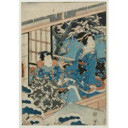 "View 9: (After) Kitagawa Utamaro (Japanese, 1753-1806) ""Three Beauties in the Down Town"" Wood Block Print"