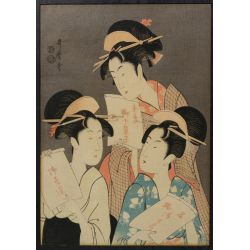 "View 4: (After) Kitagawa Utamaro (Japanese, 1753-1806) ""Three Beauties in the Down Town"" Wood Block Print"