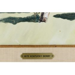 """View 3: Leroy E. Sheaner (American, 20th Century) """"1979 Kentucky Derby"""" Oil on Canvas"""