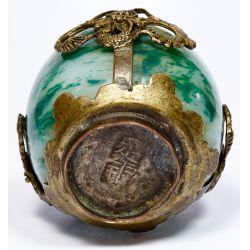 View 5: Jadeite Jade and Metal Mounted Small Incense Burner