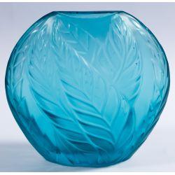 "View 3: Lalique Crystal Blue ""Filicaria"" Bud Vase"
