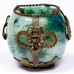 View 3: Jadeite Jade and Metal Mounted Small Incense Burner