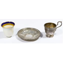 View 3: Dominick & Haff Sterling Silver Demitasse Cup and Saucer Sets
