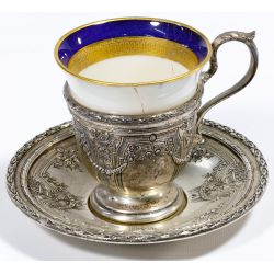 View 2: Dominick & Haff Sterling Silver Demitasse Cup and Saucer Sets