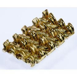 View 3: 14k Gold and Diamond Wide Band Bracelet