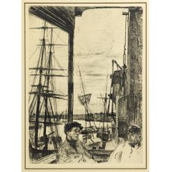 "View 2: (After) James Abbott McNeill Whistler (American, 1834-1903) ""Rotherhithe"" Etching"