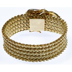 View 2: 14k Gold and Diamond Wide Band Bracelet