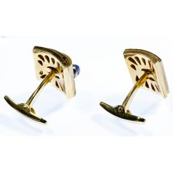 View 2: 14k Gold, Star Sapphire and Diamond Cuff Links