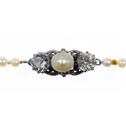 View 2: 14k Gold, Pearl and Diamond Necklace