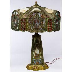 View 2: Northwest Art Shade Co. Slag Glass Table Lamp