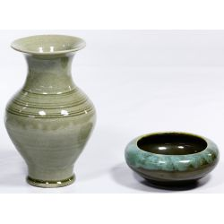 View 2: Korean Celadon Vase and Bowl