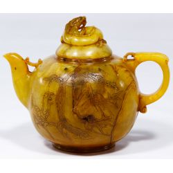 View 2: Asian Carved Jadeite Jade Tea Pot