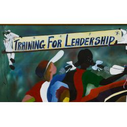 "View 2: Bill Ross (African American, 20th Century) ""Training for Leadership"" Oil on Canvas"