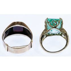 View 2: 10k Gold and Semi-Precious Gemstone Rings