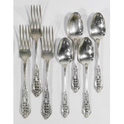 """View 2: Wallace """"Rose Point"""" Sterling Silver Flatware"""