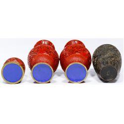View 3: Asian Cinnabar Vase and Box Assortment
