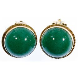 View 2: 14k Gold and Jadeite Jade Clip Earrings