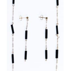 View 2: 14k Gold and Onyx Necklace and Earrings