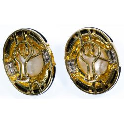 View 2: HK 14k Gold, Mabe Pearl, Onyx and Diamond Earrings