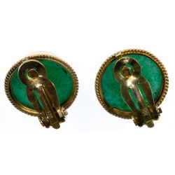 View 3: 14k Gold and Jadeite Jade Clip Earrings