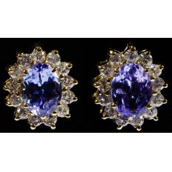 View 5: 14k Gold, Tanzanite and Diamond Pendant and Earrings
