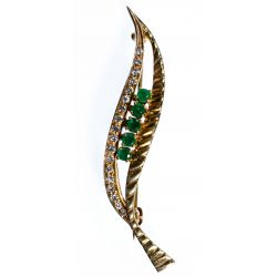 View 4: L&A 14k Gold Lady Watch Pin and Leaf Brooch