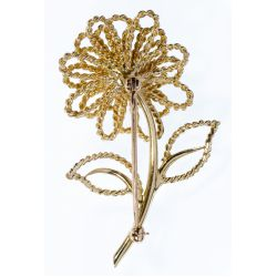 View 2: 14k Gold and Diamond Flower Brooch