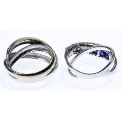 View 2: 14k White Gold, Sapphire and Diamond Rings
