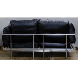 View 3: Chrome and Leather Love Seat (attributed to) Le Corbusier