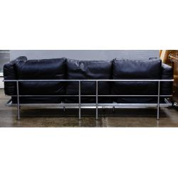 View 3: Chrome and Leather Sofa (attributed to) Le Corbusier
