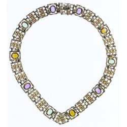 View 2: 14k Gold and Semi-Precious Gemstone Necklace