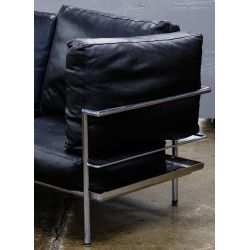 View 2: Chrome and Leather Sofa (attributed to) Le Corbusier