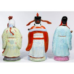 View 2: Chinese Porcelain Famille Rose Fu Lu Shou Statue Set