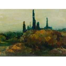 """View 3: Willem Van Den Berg (Dutch 1886-1970) """"Garden in Fasano"""" Oil on Board"""