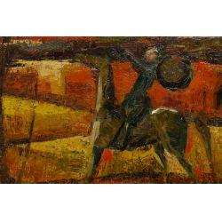 """View 3: Alfredo Romagnoli (Italian, b.1915) """"Don Quixote"""" Oil on Canvas"""