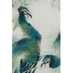 "View 2: Henry Yue-Kee Wo (American / Chinese, b.1927) ""Peacocks"" Watercolor"
